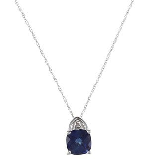 10k White Gold Created Sapphire and Diamond Accent Necklace