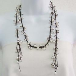White Allure Freshwater Pearl Wrap Lariat Necklace/ Belt (Thailand)
