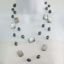 Silver Silk Thread Mother Of Pearl Necklace (Thailand)