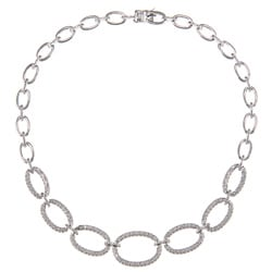 Silvertone 1ct TDW Diamond Graduated Oval Link Fashion Necklace (J-K, I2-I3)