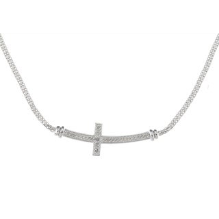 Sterling Silver 1/4ct TDW Diamond Sideways Cross Necklace