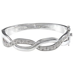 Silvertone 1/4ct TDW Diamond Infinity Weave Bangle Bracelet (J-K, I2-I3)