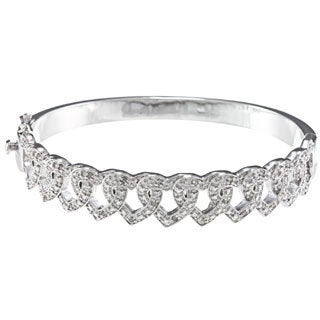 Silvertone 1/4ct TDW Diamond Interlocking Heart Bangle Bracelet (J-K, I2-I3)