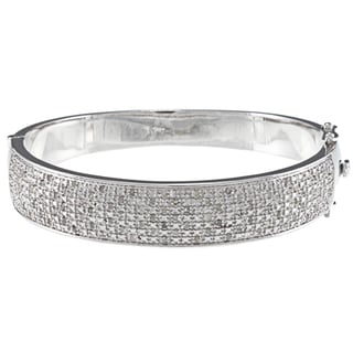 Silvertone 1ct TDW Diamond Wide Pave Bangle Bracelet