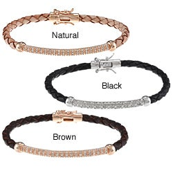 Sterling Silver Woven Leather Diamond Bracelet (J-K, I2-I3)