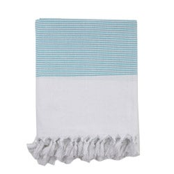 Turkish Turquoise Striped Fouta Bath/ Beach Towel