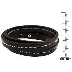 Genuine Leather with Accent Stitching Wrap Bracelet