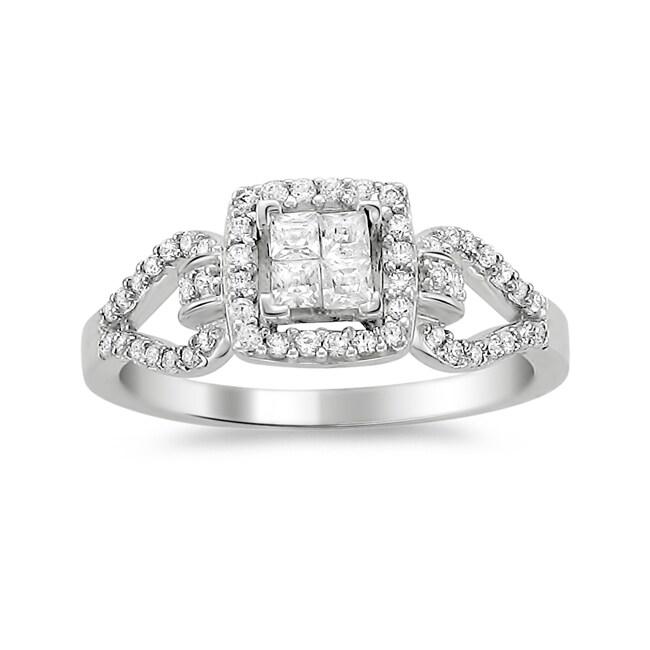 14k White Gold 1/2ct TDW Diamond Composite Engagement Ring (H-I, I1-I2)
