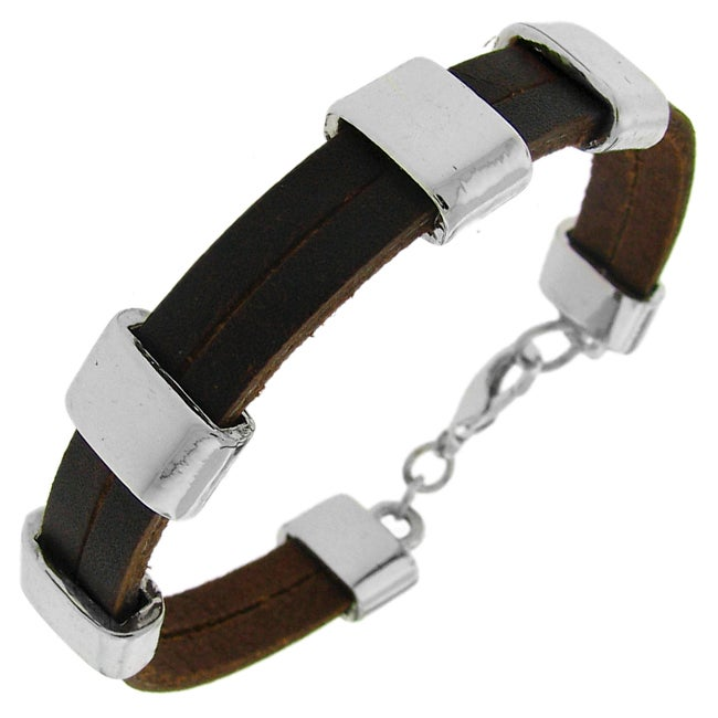 Silvertone and Brown Leather Multi-strap Bracelet