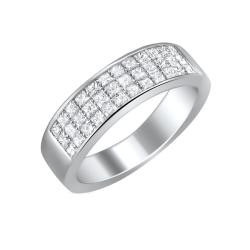 14k White Gold 1ct TDW Princess-cut Diamond Pave Band (H-I, I1-I2)