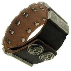 Distressed Brown Leather and Gunmetal Plate Bracelet