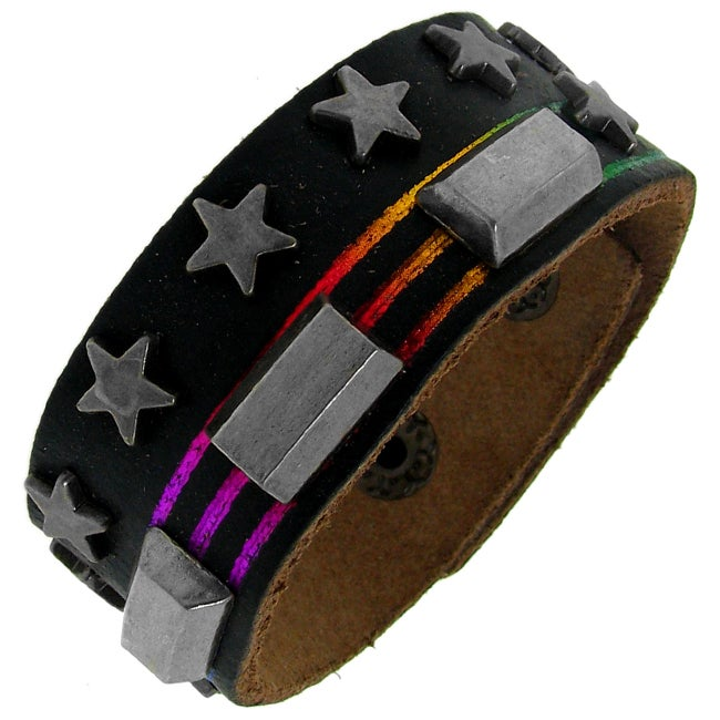 Black Leather, Silvertone Star and Rectangle Stud Rainbow Bracelet