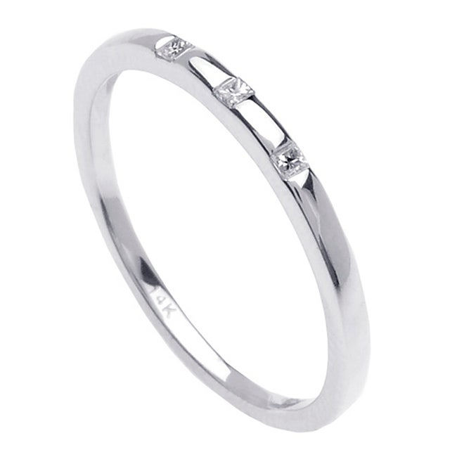 14K White Gold Princess-cut Diamond Accent Three-stone Band