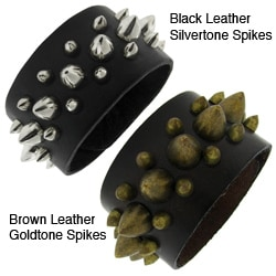 Genuine Leather and Metal Spike Accent Wide Bracelet