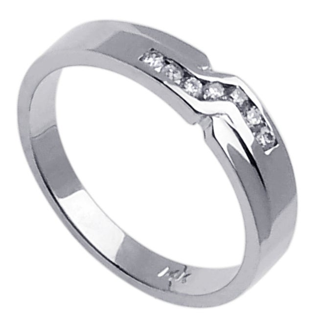 14k White Gold Men's 1/6ct TDW Diamond Wedding Band (G-H, SI1-SI2)