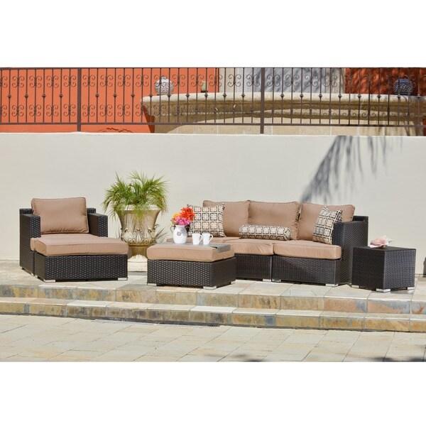 Corvus Morgan 7-piece Patio Wicker Seating Set with Sunbrella Fabric Cushions and Pillows
