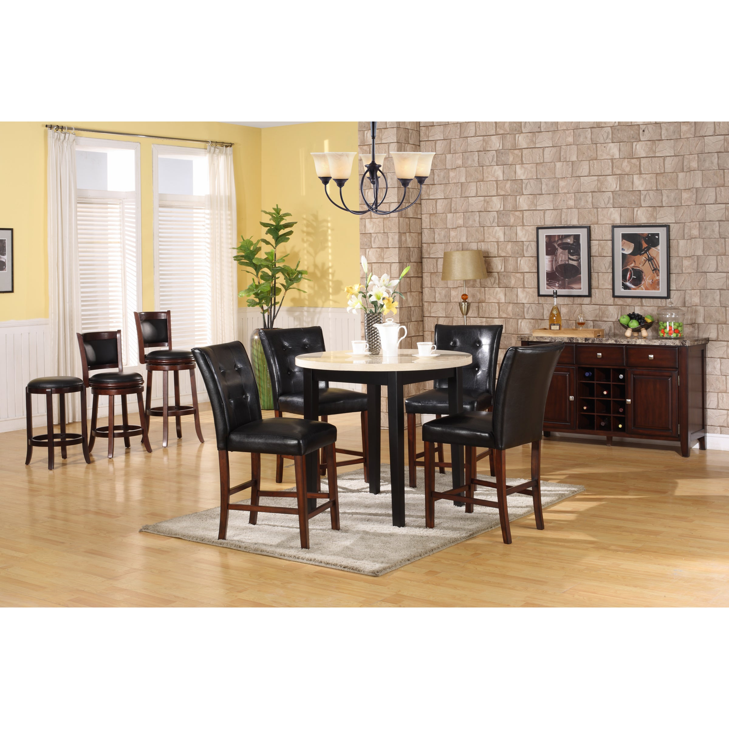 Radian White Faux-marble Table with Black Barstools
