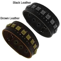 Genuine Leather Wide Cuff and Silvertone Pyramid Studs Cuff