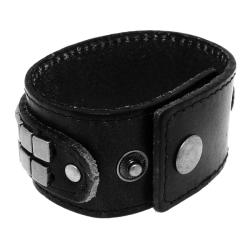 Genuine Leather and Brass Flat Stud Accents Cuff Bracelet