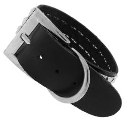 Genuine Leather with Pyramid Stud Accents Wide Cuff Bracelet