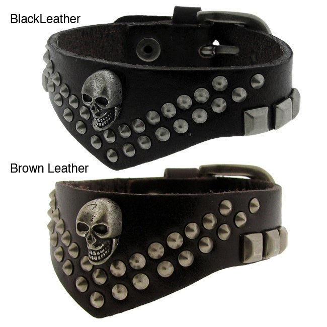 Genuine Black Leather and Brass Studs and Skull Decoration Adjustable Bracelet