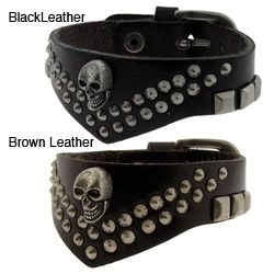 Genuine Black Leather and Brass Studs and Skull Decoration Adjustable Bracelet