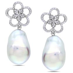 Miadora 14k White Gold FW Pearl and 1ct TDW Diamond Earrings (G-H, SI1-SI2) (17-17.5 mm)