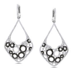 Miadora 14k Gold 2 1/6ct TDW Black and White Diamond Earrings (G-H, SI1-SI2)