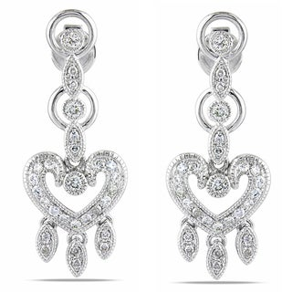 Miadora 14k White Gold 1/2ct TDW Diamond Dangle Earrings (G-H, SI1-SI2)