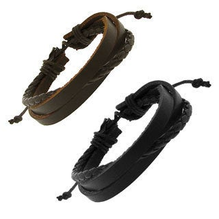 Genuine Leather Brown Multistrap And Cord Adjustable Bracelet