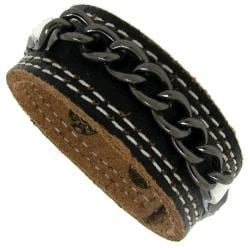Genuine Black Leather with Silvertone Brass Chain Bracelet