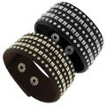 Genuine Leather with Silver Tone Brass Studs Cuff Bracelet