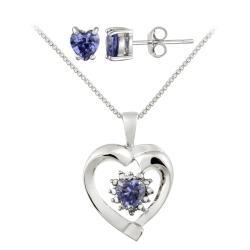 Glitzy Rocks Silver Diamond Accent And Blue Cubic Zirconia Heart Jewelry Set