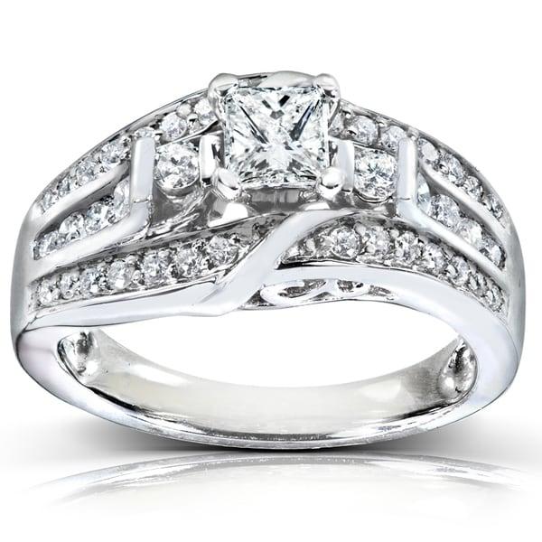Annello 14k White Gold 7/8ct TDW Diamond Engagement Ring (H-I, I1-I2)