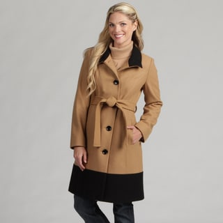 AK Anne Klein Women's Belted Long Wool Coat