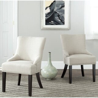 Safavieh En Vogue Dining Loire Antique Gold Viscose Nailhead Side Chairs (Set of 2)