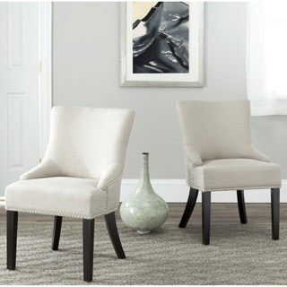 Safavieh Loire Beige Viscose Nailhead Dining Chairs (Set of 2)