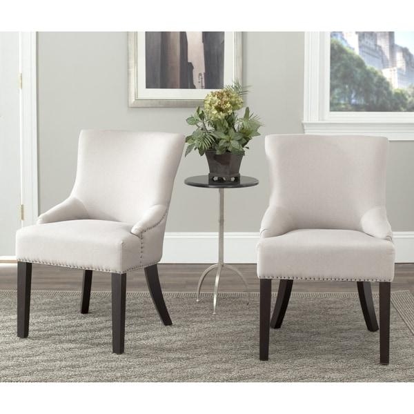 Safavieh En Vogue Dining Loire Beige Linen Nailhead Side Chairs (Set of 2)