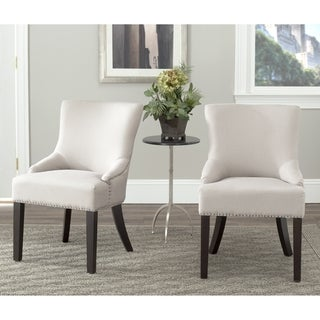 Safavieh Loire Beige Linen Nailhead Dining Chairs (Set of 2)
