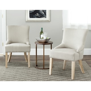 Safavieh Loire Grey Polyester Maple Finish Dining Chairs (Set of 2)