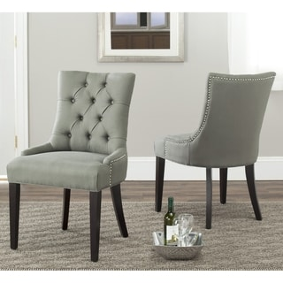 Safavieh Marseille Grey Linen Nailhead Dining Chairs (Set of 2)