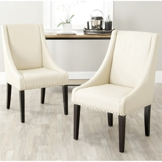 Safavieh Sloping Arm Chair Taupe Nailhead Dining Chairs (Set of 2)
