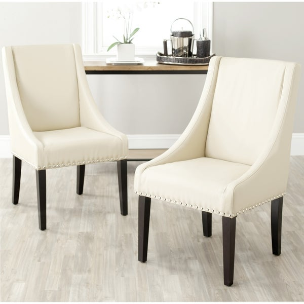 Safavieh En Vogue Dining Sloping Arm Taupe Nailhead Side Chairs (Set of 2)