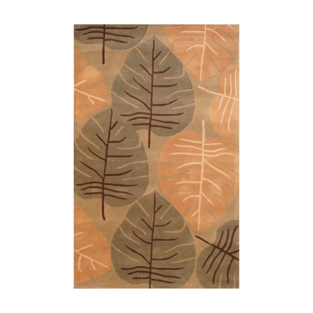 Indo Hand-tufted Light Green/ Light Brown Wool Rug (5' x 8')