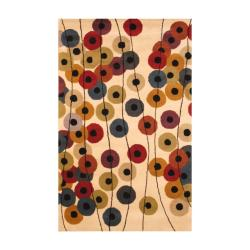 Indo Hand-Tufted Contemporary Ivory/Black Wool Rug (5' x 8')