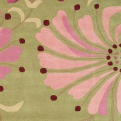 Indo Hand-tufted Green/ Pink Wool Rug (6' x 6')