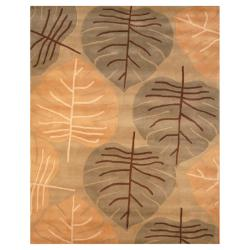 Indo Hand-tufted Light Green/ Light Brown Wool Rug (8' x 10')