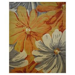 Indo Hand-tufted Ivory/ Orange Wool Rug (8' x 10')