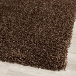 Cozy Solid Brown Shag Rug (4' Round)