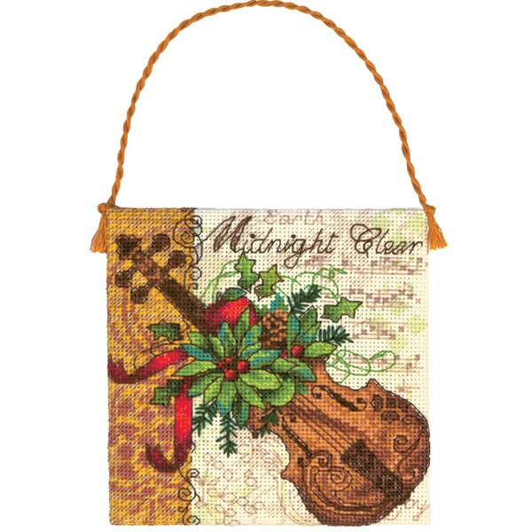 "Gold Collection Petites Violin Ornament Counted Cross Stitch-7""X7"" 18 Count"